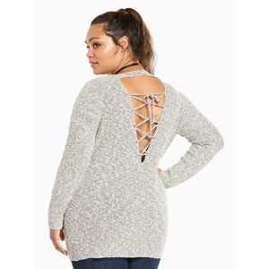 Torrid Knit Lace Up Back Sweater Plus Size 5 Gray